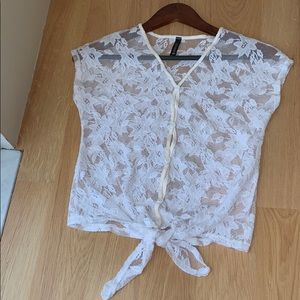 White Lace Tie Front Top Size XL